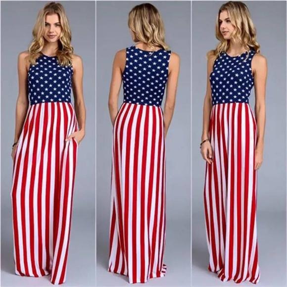 Dresses Usa Stars Stripes American Flag Maxi Dress Poshmark